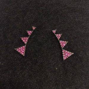 Pink crystal creeper earrings w/ dark metal accent